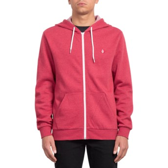 Volcom Burgundy Heather Iconic Red Zip Through Hoodie Sweatshirt