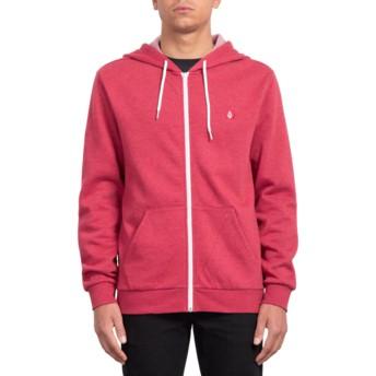Volcom Burgundy Heather Iconic Red Zip Through Hoodie Sweatshirt