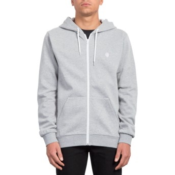 Volcom Heather Grey Iconic Grey Zip Through Hoodie Sweatshirt