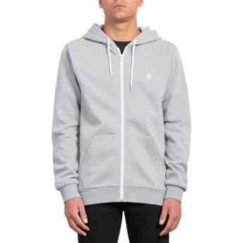 Volcom Heather Grey Iconic Grey Zip Through Hoodie Sweatshirt