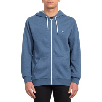 Volcom Indigo Iconic Navy Blue Zip Through Hoodie Sweatshirt
