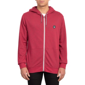 Volcom Burgundy Heather Litewarp Red Zip Through Hoodie Sweatshirt