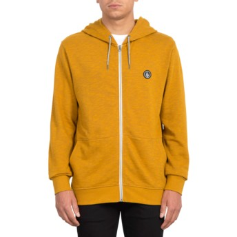 Volcom Camel Litewarp Brown Zip Through Hoodie Sweatshirt