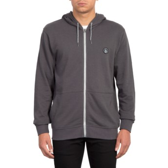 Volcom Heather Black Litewarp Black Zip Through Hoodie Sweatshirt