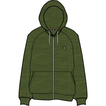 Volcom Army Timesoft Heather Green Zip Through Hoodie Sweatshirt