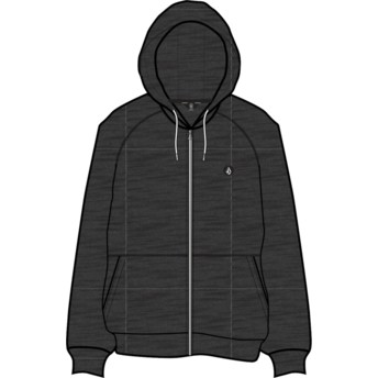 Volcom Black Timesoft Heather Heather Black Zip Through Hoodie Sweatshirt