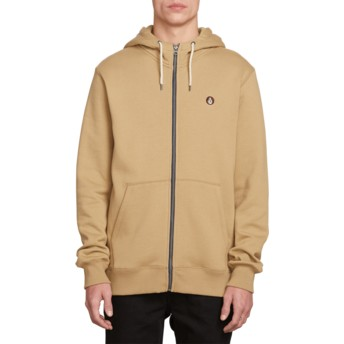 Volcom Sand Brown Single Stone Brown Zip Through Hoodie Sweatshirt
