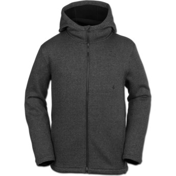 Volcom Black Stone Storm Bonded Black Zip Through Hoodie Sweatshirt