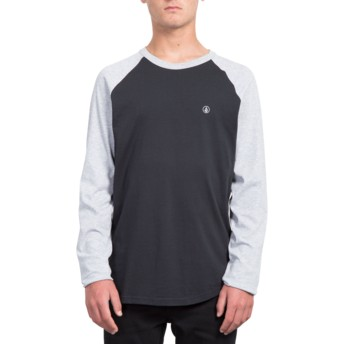 Volcom Black Sleeves Heather Grey Pen Black and Grey Long Sleeve T-Shirt