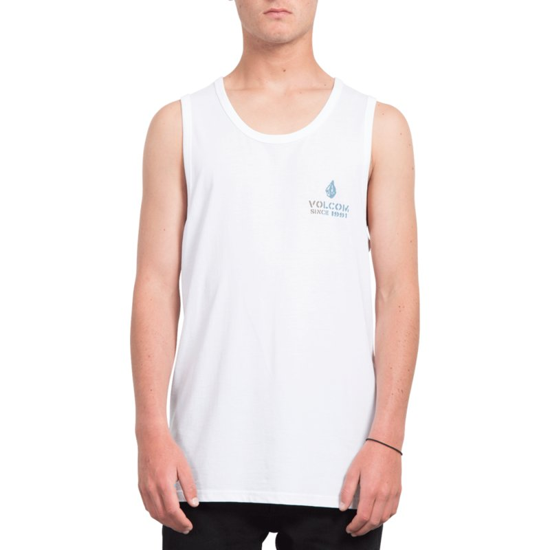 1797a828151357 Volcom White Peace Is Progess White Sleeveless T-Shirt  Shop Online ...