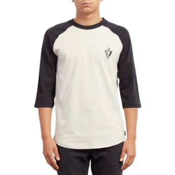 Volcom Black Cutout White and Black 3/4 Sleeve T-Shirt