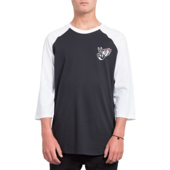 Volcom Black Winged Peace Black and White 3/4 Sleeve T-Shirt