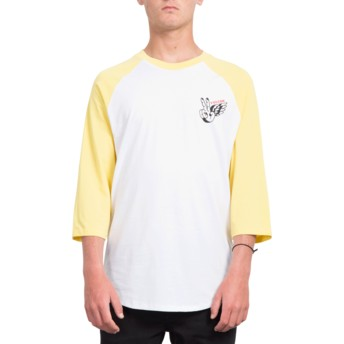 Volcom Yellow Winged Peace White and Yellow 3/4 Sleeve T-Shirt