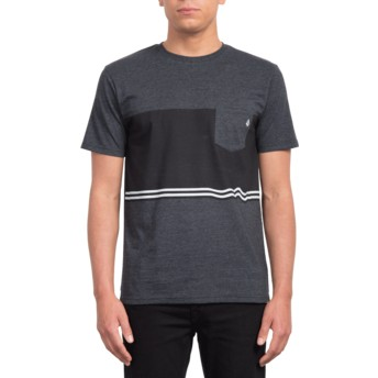 Volcom Three Heather Black Quarter Black T-Shirt