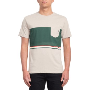 Volcom Three Oatmeal Quarter Beige and Green T-Shirt