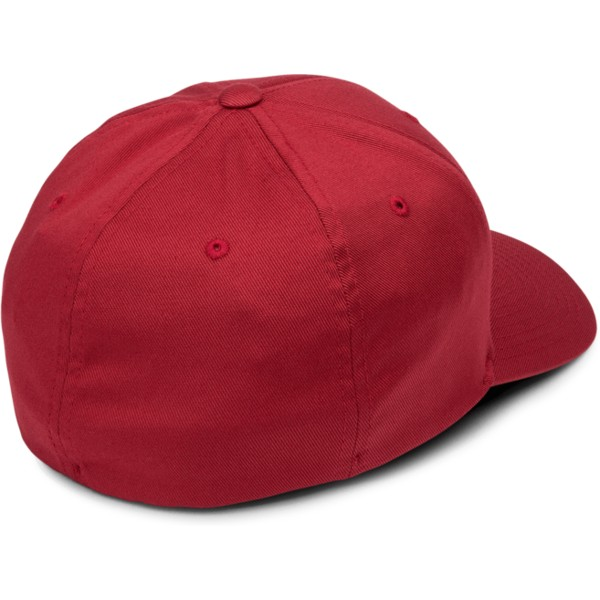 volcom-curved-brim-burgundy-full-stone-xfit-red-fitted-cap