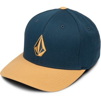 Volcom Curved Brim Camel Full Stone Xfit Navy Blue Fitted Cap with Brown Visor