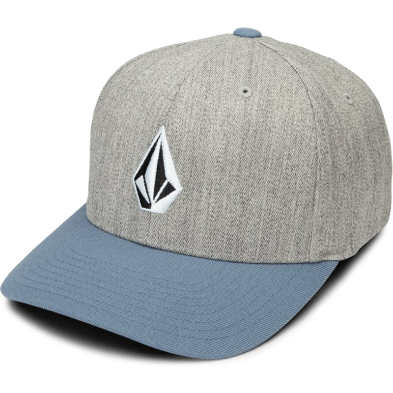 volcom-curved-brim-vintage-blue-full-stone-xfit-grey-fitted-cap-with-blue-visor