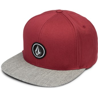 Volcom Flat Brim Burgundy Quarter Twill Red Snapback Cap with Grey Visor