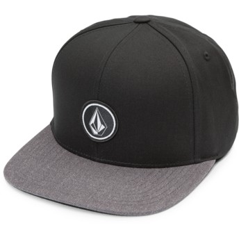 Volcom Flat Brim Charcoal Heather Quarter Twill Black Snapback Cap with Grey Visor