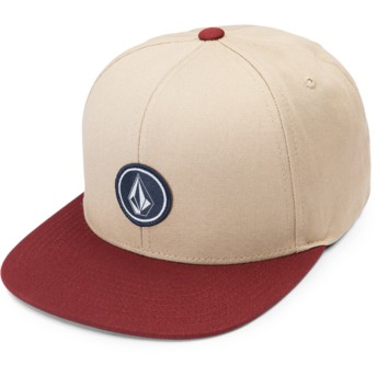 Volcom Flat Brim Dark Clay Quarter Twill Brown Snapback Cap with Red Visor