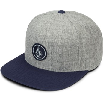 Volcom Flat Brim Medium Grey Quarter Twill Grey Snapback Cap with Blue Visor