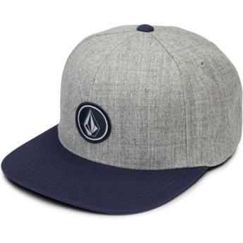 Volcom Flat Brim Medium Grey Quarter Twill Grey Snapback Cap with Blue Visor