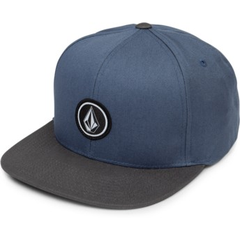 Volcom Flat Brim Vintage Blue Quarter Twill Blue Snapback Cap with Black Visor