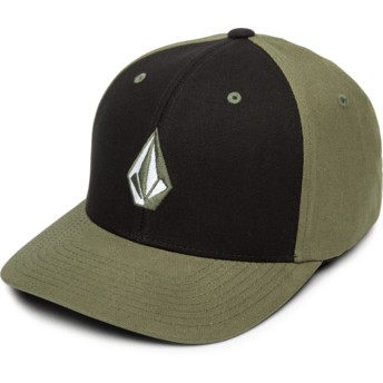 Volcom Curved Brim Army Full Stone Xfit Black and Green Fitted Cap