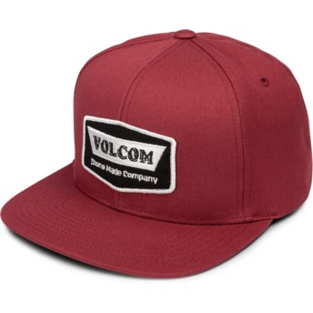 Volcom Flat Brim Burgundy Cresticle Red Snapback Cap