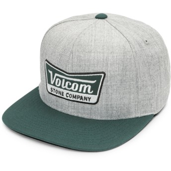 Volcom Flat Brim Dark Pine Cresticle Grey Snapback Cap with Green Visor