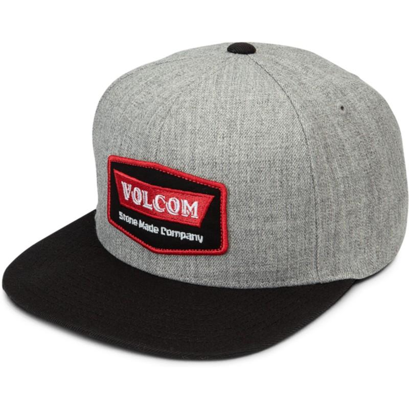 66c7bfcf64d Volcom Flat Brim Red Cresticle Grey Snapback Cap with Black Visor ...
