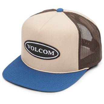 Volcom Sand Brown Logger Cheese Brown Trucker Hat with Blue Visor