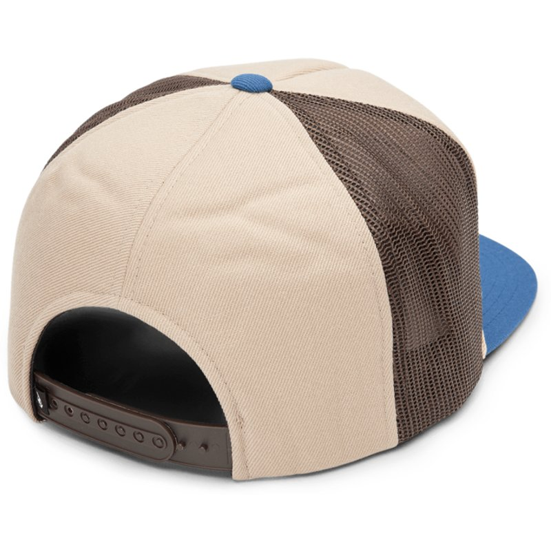 3febb1dc7e9fa5 Volcom Sand Brown Logger Cheese Brown Trucker Hat with Blue Visor ...