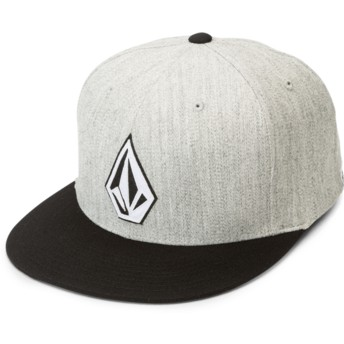 Volcom Flat Brim Heather Grey Stone Stack Jfit Grey Fitted Cap with Black Visor