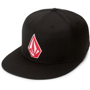 Volcom Flat Brim Spark Red Stone Stack Jfit Black Fitted Cap