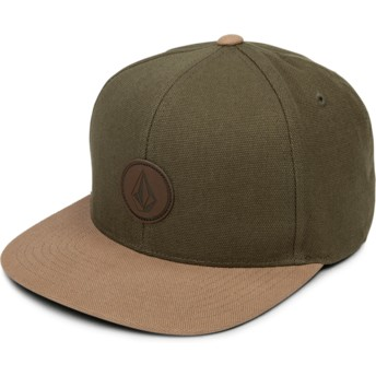 Volcom Flat Brim Army Quarter Fabric Green Snapback Cap with Brown Visor