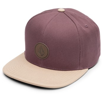 Volcom Flat Brim Bordeaux Brown Quarter Fabric Maroon Snapback Cap with Brown Visor