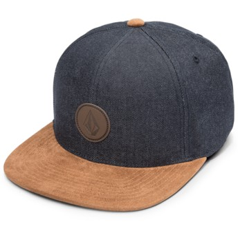 Volcom Flat Brim Melindigo Quarter Fabric Blue Snapback Cap with Brown Visor