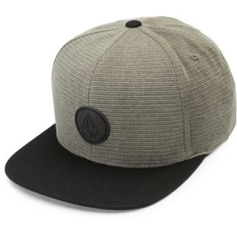 Volcom Flat Brim Vineyard Green Quarter Fabric Green Snapback Cap with Black Visor