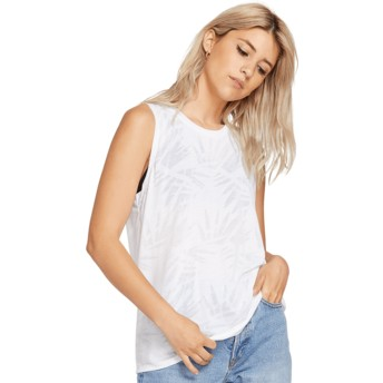 Volcom White Geo Arty White Sleeveless T-Shirt