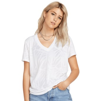 Volcom White Geo Arty V-neck White T-Shirt