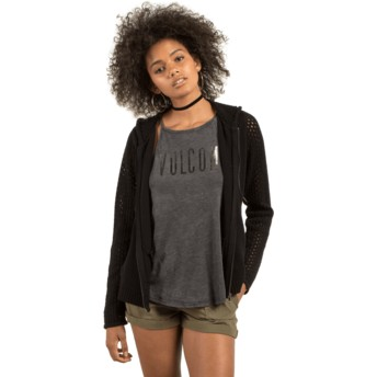Volcom Black Hey Meshter Black Zip Through Hoodie Sweatshirt