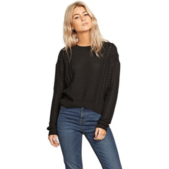 Volcom Black Cable Bodied Black Sweater