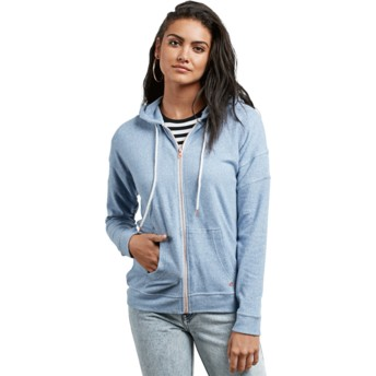 Volcom Washed Blue Lil Blue Zip Through Hoodie Sweatshirt