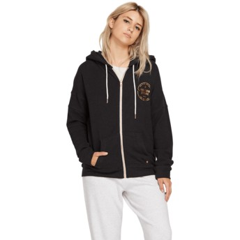 Volcom Black Lil Black Zip Through Hoodie Sweatshirt