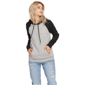 Volcom Heather Grey Mind Your Grey and Black Hoodie Sweatshirt