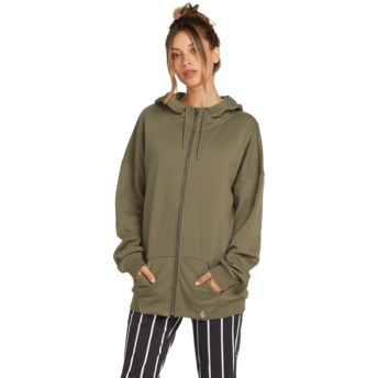 Volcom Army Green Combo Walk On By Terry Green Zip Through Hoodie Sweatshirt