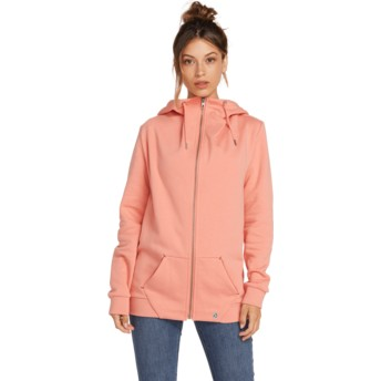 Volcom Terra Cotta Walk On By Pink Zip Through Hoodie Sweatshirt