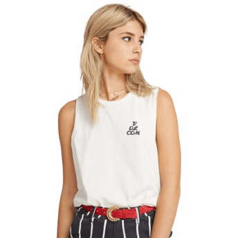 Volcom White Volcom Love White Sleeveless T-Shirt